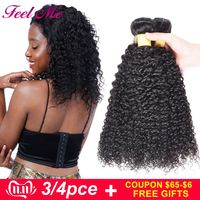 FEEL ME Kinky Curly Hair Bundles Brazilian Curly Human Hair Bundles M Non Remy Hair Weave In Extensions Can Buy 3/4 PCS Bundles