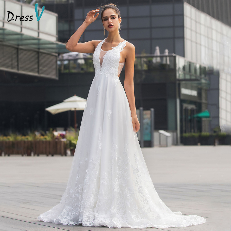 Dressv V Neck Wedding Dress A Line Sleeveless Appliques Criss-Cross Straps Court Train Outdoor&Church Wedding Dresses Custom