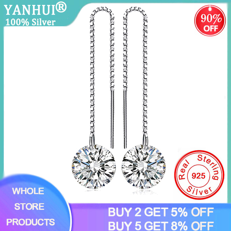 YANHUI Real 925 Sterling Silver Cubic Zirconia Diamond Long Drop Earrings For Women Korean Earrings 2020 Earings Fashion Jewelry