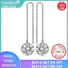Yanhui real 925 prata esterlina zircônia cúbica diamante brincos longos para mulheres coreano brincos 2020 brincos moda jóias