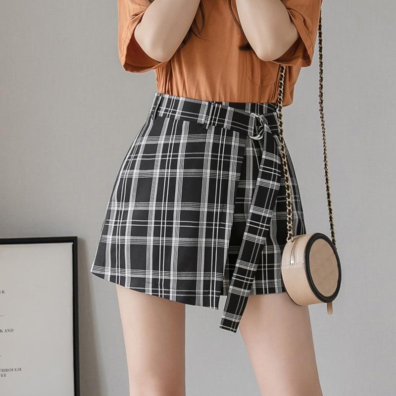 Summer Black And White Plaid A-line Skirt Shorts Fake Two Pieces Irregular High Waist Chiffon Shorts Women Ladies Shorts Femme
