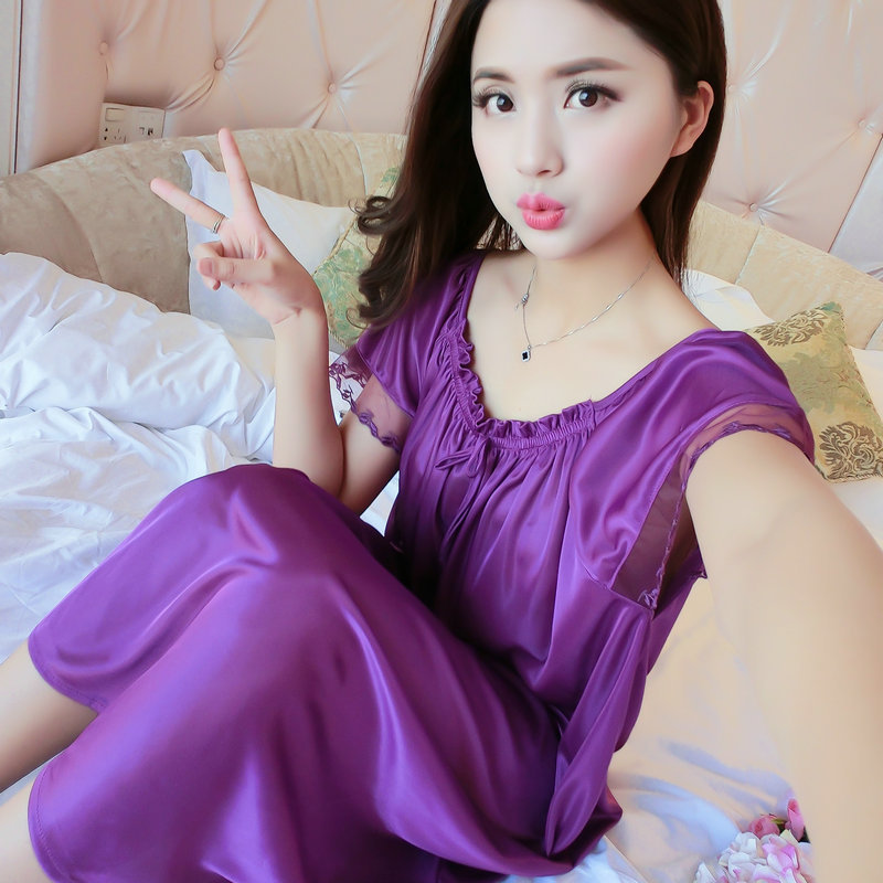 Short Sleeve Pajamas Women's Summer Nightgown Sexy Ice Silk Loose-Fit Plus-sized Tracksuit Summer Long Skirts