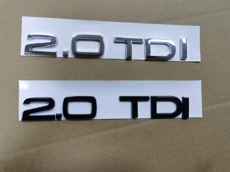 1 х хромированный глянцевый черный значок-эмблема из АБС 2,0 TDI для кузова автомобиля, заднего багажника, наклейка для аксессуаров Audi