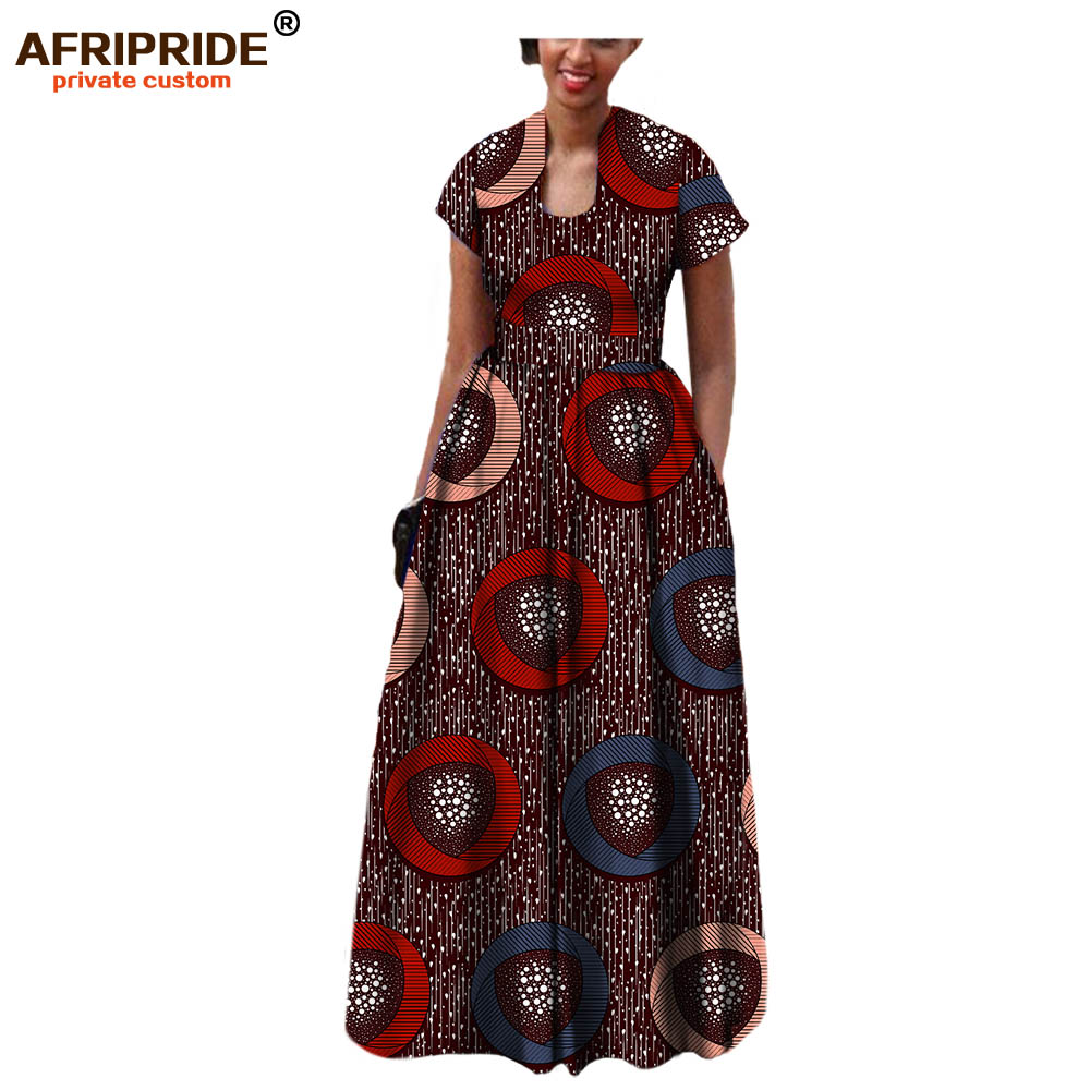 AFRIPRIDE الأفريقي اللباس للنساء 2019 الخريف قصيرة الأكمام مع الزنانير ديكور أرضيات طول البوهيمي نمط حزب A7225117-في فساتين من ملابس نسائية على  مجموعة 1