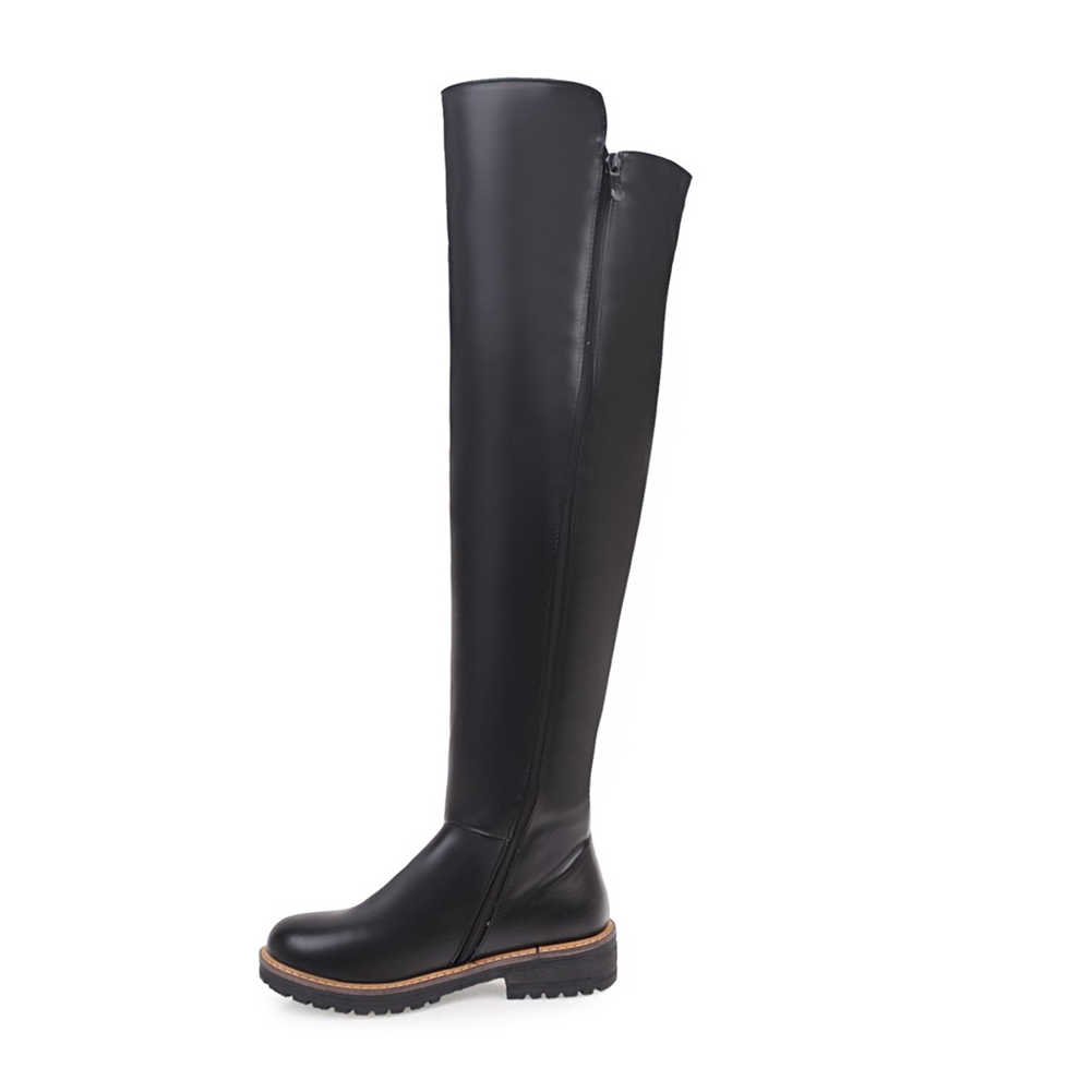 BONJOMARISA yeni kadın diz çizmeler üzerinde 2020 sıcak satış moda şövalye çizmeler fermuar düz ayakkabı kadın kadın ayakkabı 34- 43