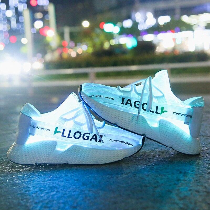 New USB Charger Glowing Luminous Sneakers Children Optical Fiber Light Vamp Children Led Slippers For Boy&Girl Light Up Shoes