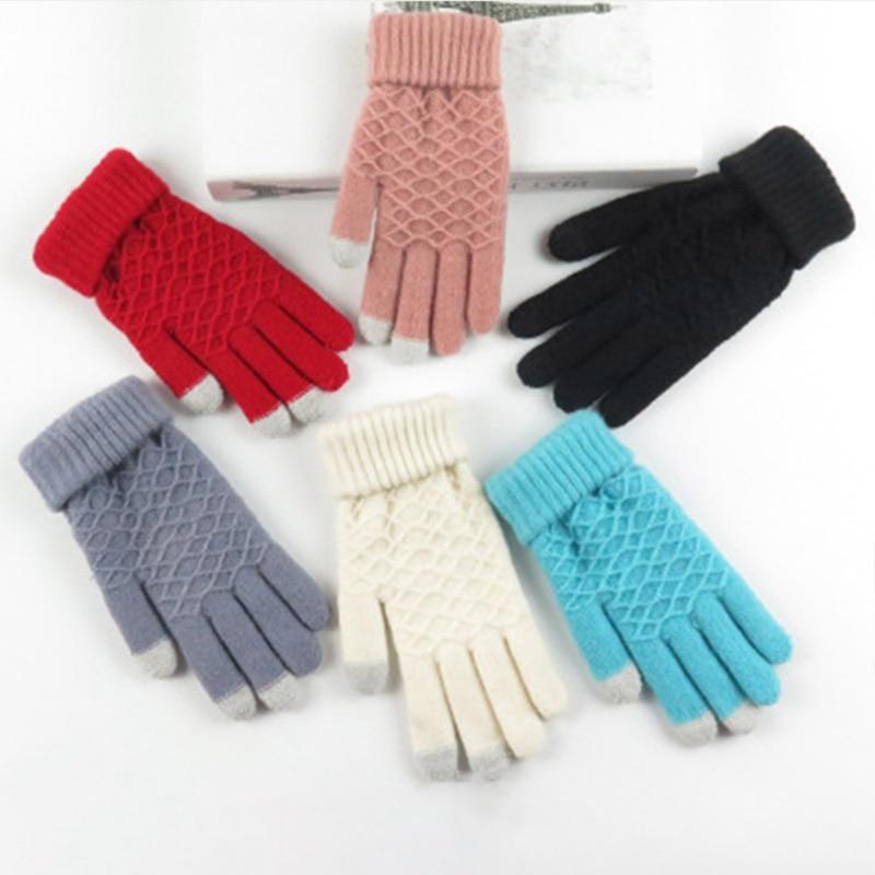 Magic Touch Screen Gloves Women Kids  Warm Winter Outing Cycling  Knit Mittens Full Finger Guantes Female Crochet Mitt