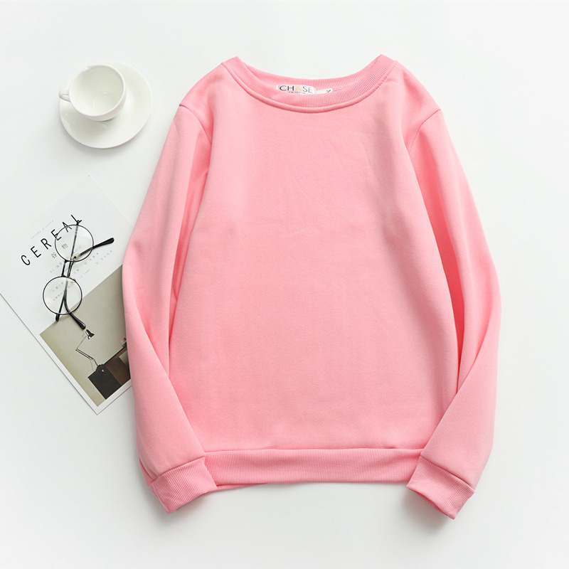 Women Solid Sweatshirts Korean Style Autumn Ladies Student Round Neck Long Sleeve Loose Pullover Tops WDC6301 23
