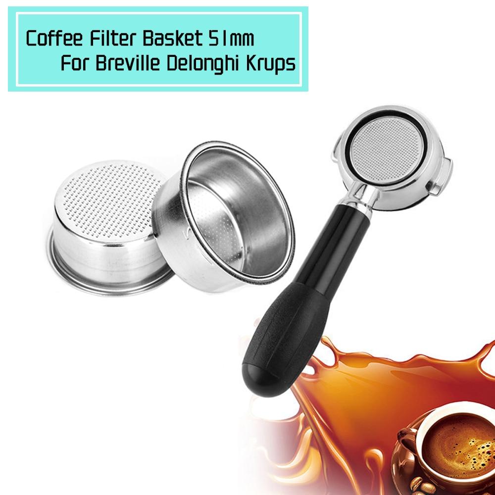 קפה מסנן כוס 51mm ללא בלחץ מסנן סל עבור Breville Delonghi מסנן Krups קפה מוצרי מטבח אבזרים
