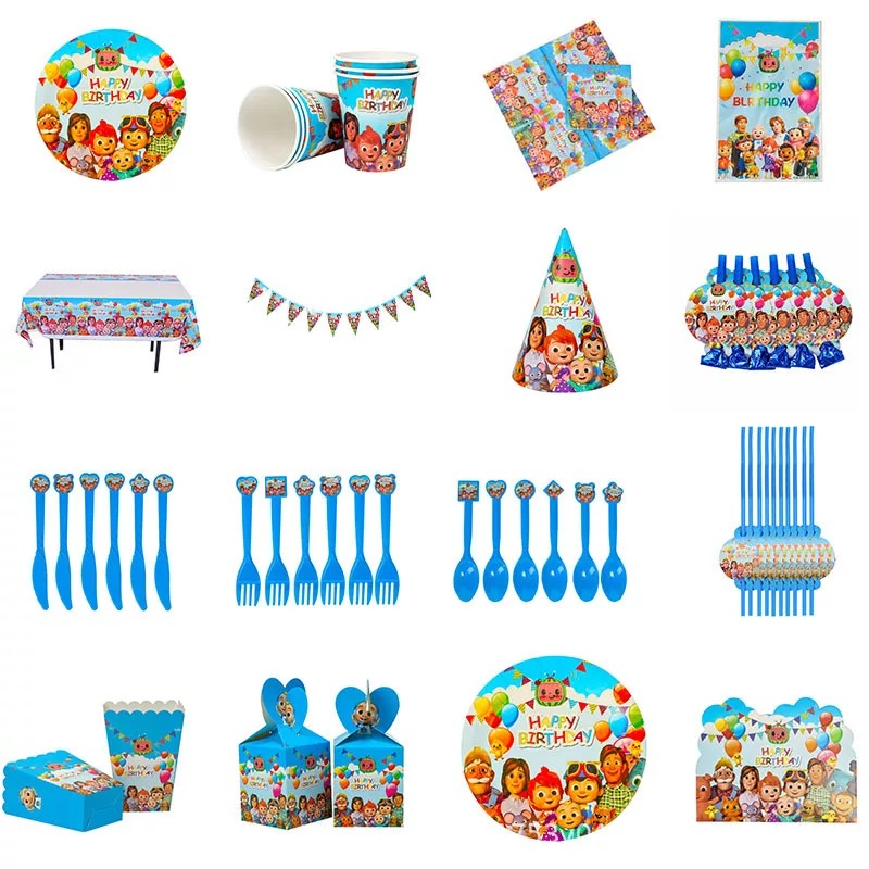Cocomelon party Decoration Ballons Kids Cocomelon Family Party Supplies Paper Cup Plate Napkins Tableware Baby Shower Party Hat