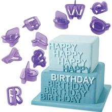 40Pcs/set Purple Alphabet Number Character Letter Cookie Cutter Set Fondant Cake Biscuit Baking Mould DIY Cake Decorating Tools
