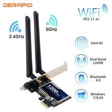 Беспроводной адаптер PCI-e, 1200 мбит/с, 802.11ac, Bluetooth 4,0, wi-fi, Wlan-карта, 2,4 ггц/5 ггц, настольный адаптер PCI Express для Win 7, 8, 10