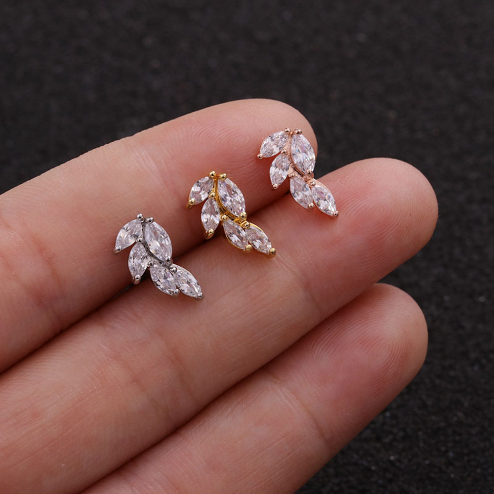 Fashion Rose Gold Color Curved Cz Cartilage Ear Stud Helix Rook Conch Screw Back Earring 20g Stainless Steel Ear Piercing Jewelr