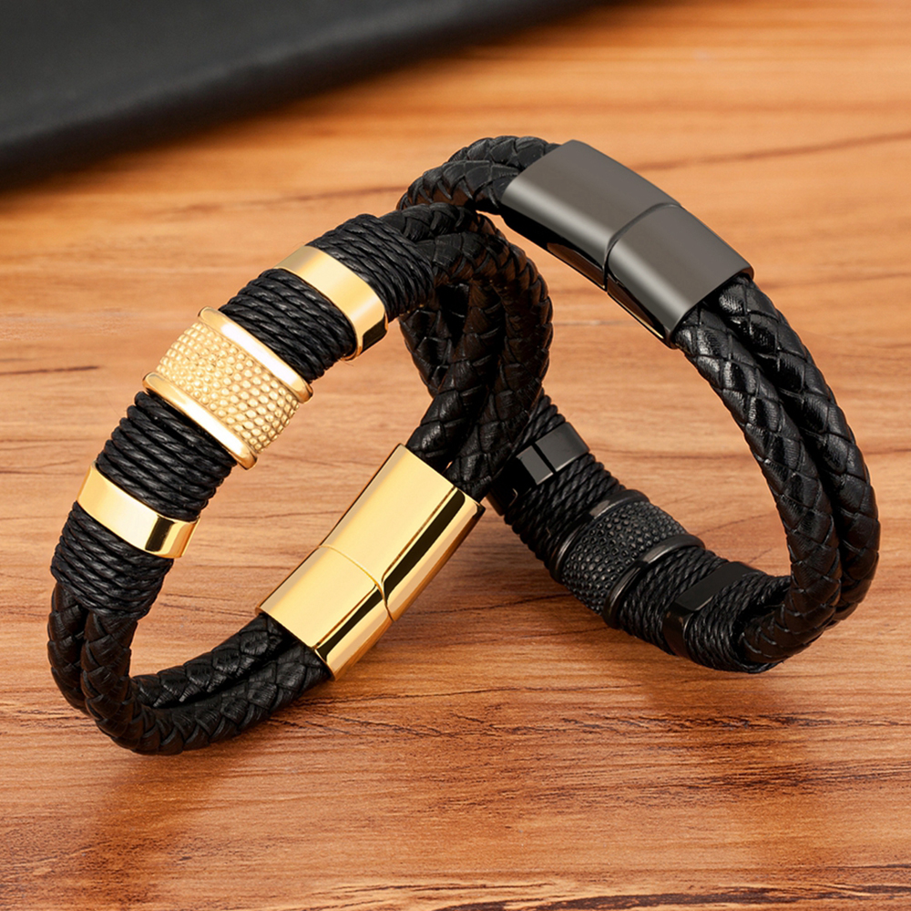 TYO Braided Rope Wrap Leather Bracelets For Men Bangles Fashion Male Women Charm Stainless Steel Clasp Jewelry DIY Customization