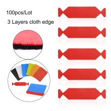 EHDIS 100pcs Car Tools 3 Layers Waterproof Fabric Cloth for 10cm Carbon Fiber Squeegee Vinyl Wrap Window Tint Clean Scraper Edge