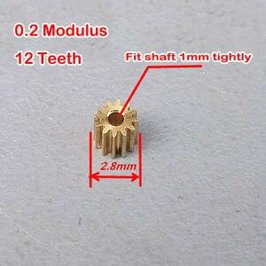 2 шт., медная Шестерня 0,2 модуля, микро-мини-электродвигатель, вал шпинделя, металлическая шестерня, 12 зубьев, латунная ось, шестерня s, DIY детал...