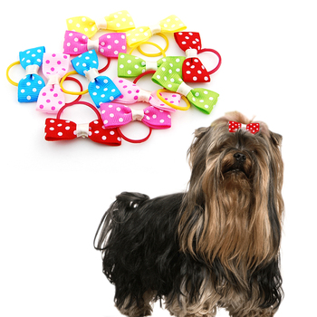 (24 pieces/lot) Pet Puppy Small Dog Hair Flower Bows Pet Hair Accessories Dog Bowknot Elastic Band Decoration Poodle