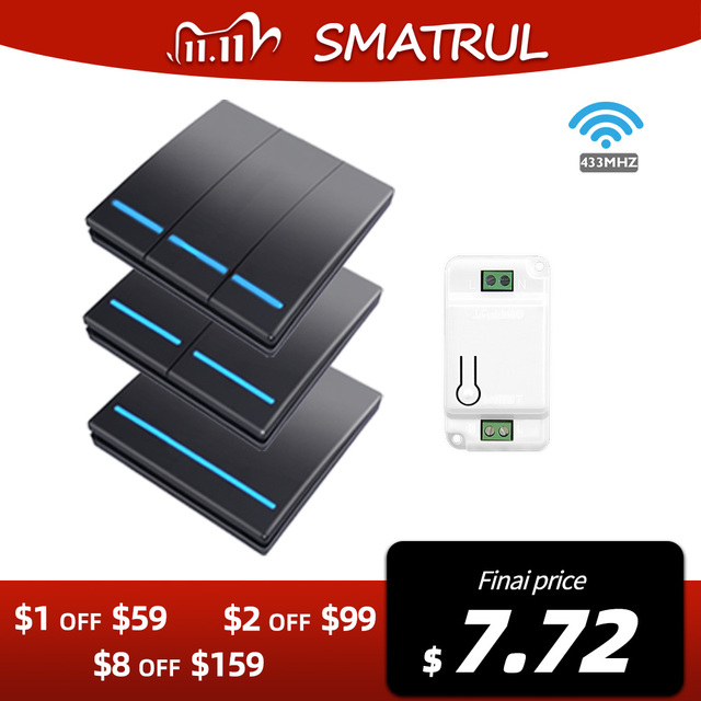 SMATRUL 1/2/3 Gang 433Mhz Smart Push Wireless Wall Switch Light RF Remote Control 110V 220V Receiver Home Button Ceiling Lamp