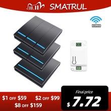 SMATRUL 1/2/3 Gang 433Mhz الذكية دفع الجدار اللاسلكية التبديل ضوء RF التحكم عن بعد 110 فولت 220 فولت استقبال المنزل زر مصباح السقف