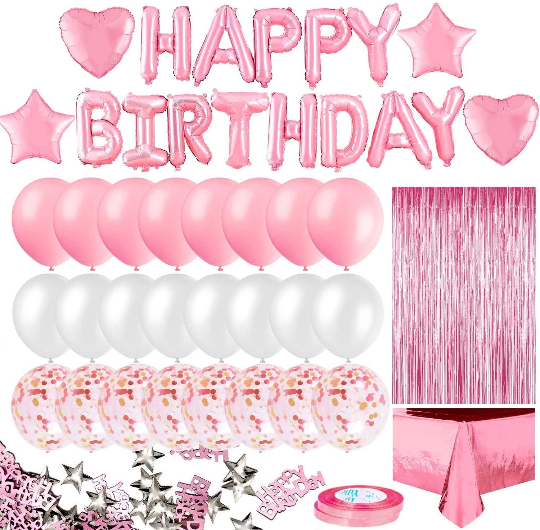 Розовое украшение для дня рождения для девочек, баннер на день рождения, бахрома, занавеска, фольгированная скатерть в форме сердца, звезды, ...