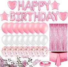 Rosa festa de aniversário decoração para meninas feliz aniversário banner baloons franja cortina folha toalha de mesa coração estrela folha confetes b