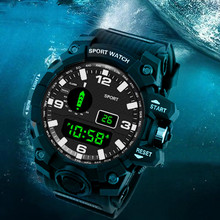 SANDA Fashion Sport Watch Men Digital Watch Waterproof Alarm Chronograph Countdown LED Electronic Watch Relogio digital New cheap Resin 25cm 5Bar Buckle ROUND 22mm 16mm Stop Watch Back Light Shock Resistant LED display Water Resistant Swim SD56 No package