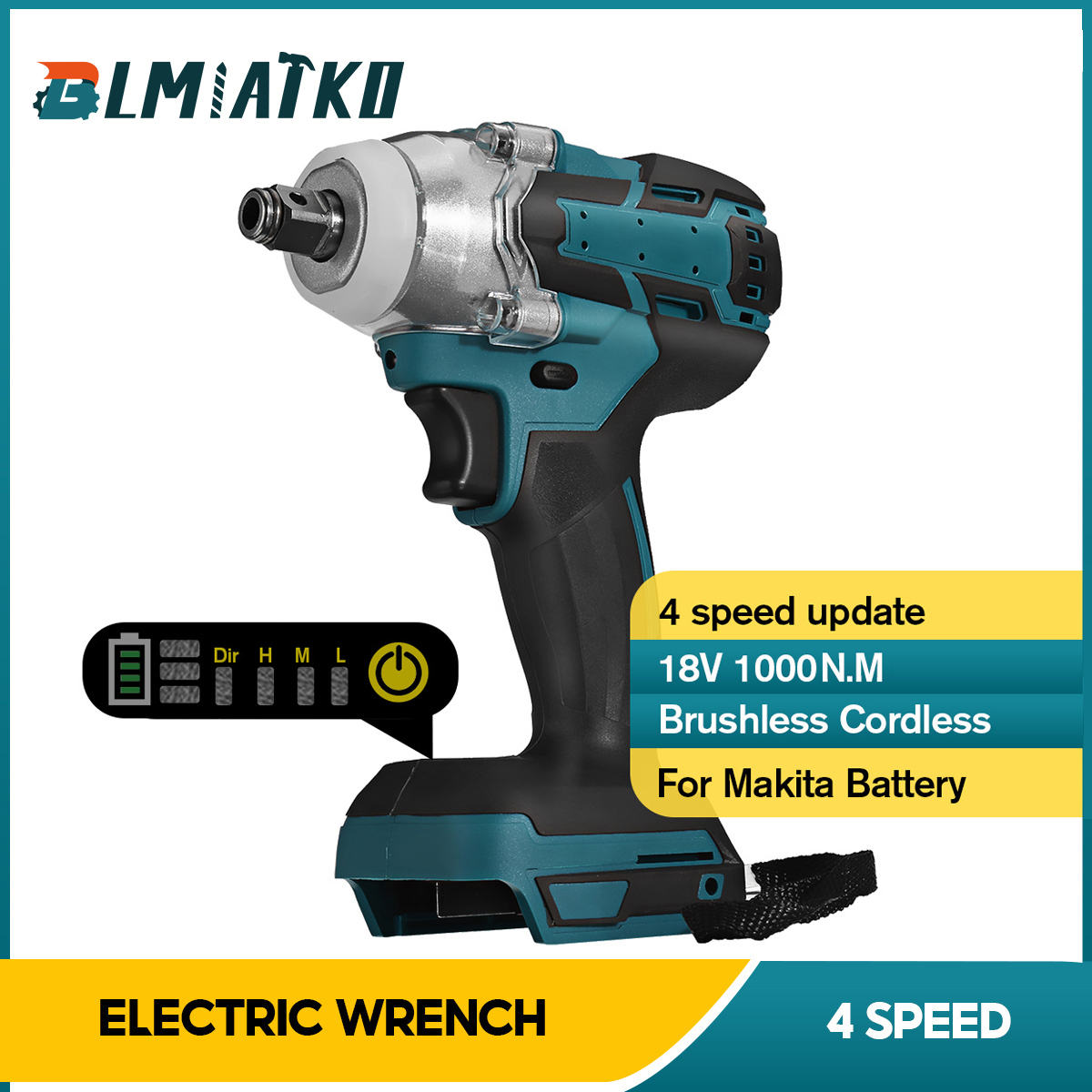BLMIATKO Upgrade Brushless Cordless 4 Speed Electric Impact Wrench Rechargeable 1/2inch Wrench Power Tool for Makita 18V Battery