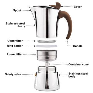 Image 5 - FISSMAN Stainless steel Stove Espresso Maker Latte Mocha Coffee Pot Tool for Home Office Gas and Induction Coffee Maker