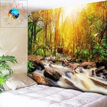 3D Tapestry Forest Wall Hanging Waterfall Psychedelic Colorful Natural Scenery Boho Decoration Home Decor