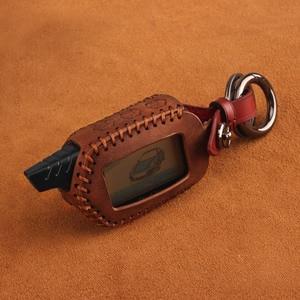 Image 4 - KEYYOU 3 Button Leather Case Cover B9/B6 Fob For Starline B9 B6 A91 A61 LCD Key Case 2 Way Car Alarm System keychain Car styling