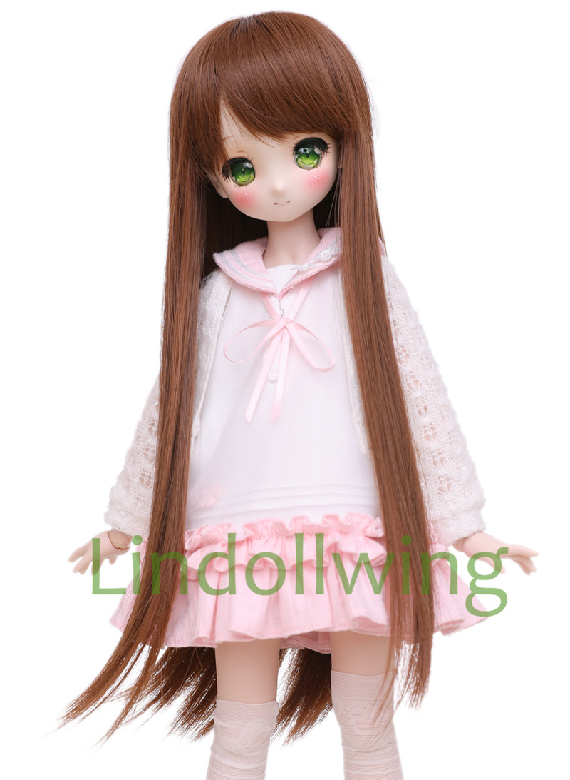 <font><b>1/3</b></font> <font><b>BJD</b></font> <font><b>Wig</b></font> Pullip Dal DD SD LUT Dollfie Doll <font><b>Wig</b></font> High Temperature Hair 8-9 inch Long <font><b>Wig</b></font> <font><b>Brown</b></font> Hair image