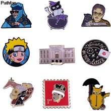 A3827 Patchfan Acara Tv Karakter Bros Anime Naruto Pin Ikon Enamel Pin Lencana Kartun Kucing Perhiasan(China)