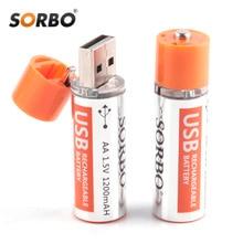 Оригинальная Аккумуляторная Батарея Sorbo USB AA 1,5 в 1200 мАч, быстрая зарядка Li po, качественные батарейки AA, батареи RoHS CE