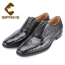 Sipriks Mens Black Crocodile Skin Dress Shoes Rubber Sole Wingtip Oxofrds Boss Formal Tuxedo Gents Suit Social Wedding Male 44(China)