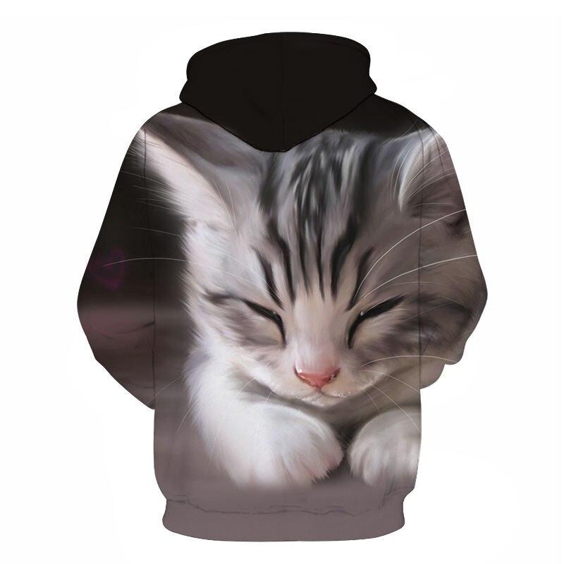 Women's Two Cat Sweatshirts Long Sleeve 3D Hoodies Sweatshirt Pullover Tops Blouse Pullover Hoodie Poleron mujer Confidante Tops 60
