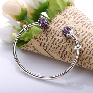 Image 3 - Moonmory Moments Silver Open Bangle with Pave Caps S925 Sterling Silver bead Bracelet with Red Zircon Diy Charm Bangle Jewelry