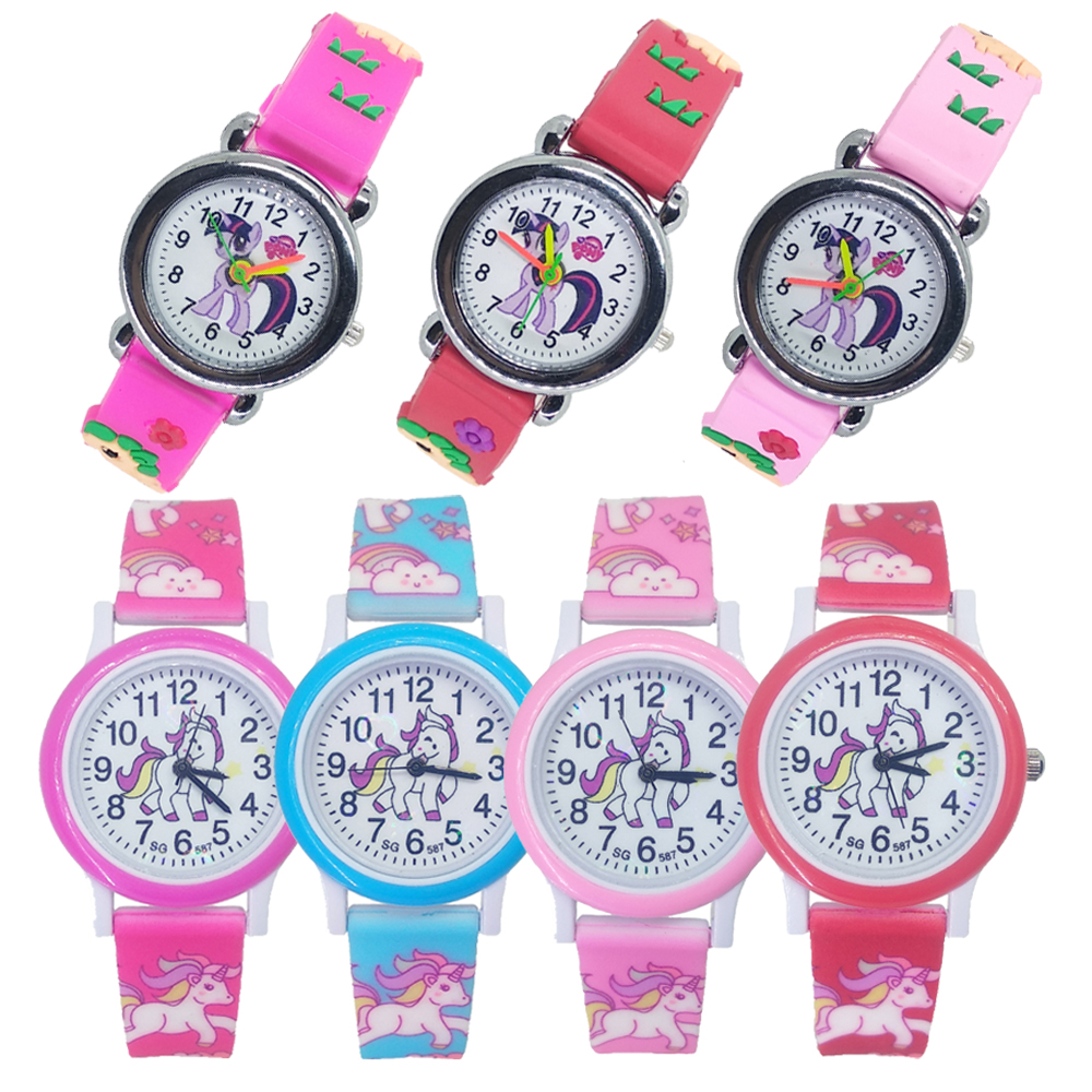 Cartoon Pony Horse Watch Children Fashion Cute Unicorn Girls Boys Child Quartz Clock Student Sport Kids Watches Baby Watch Gift