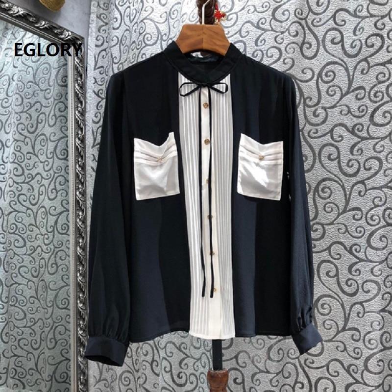 Топы модная дизайнерская блузка рубашка Осень зима 2020 шелковые