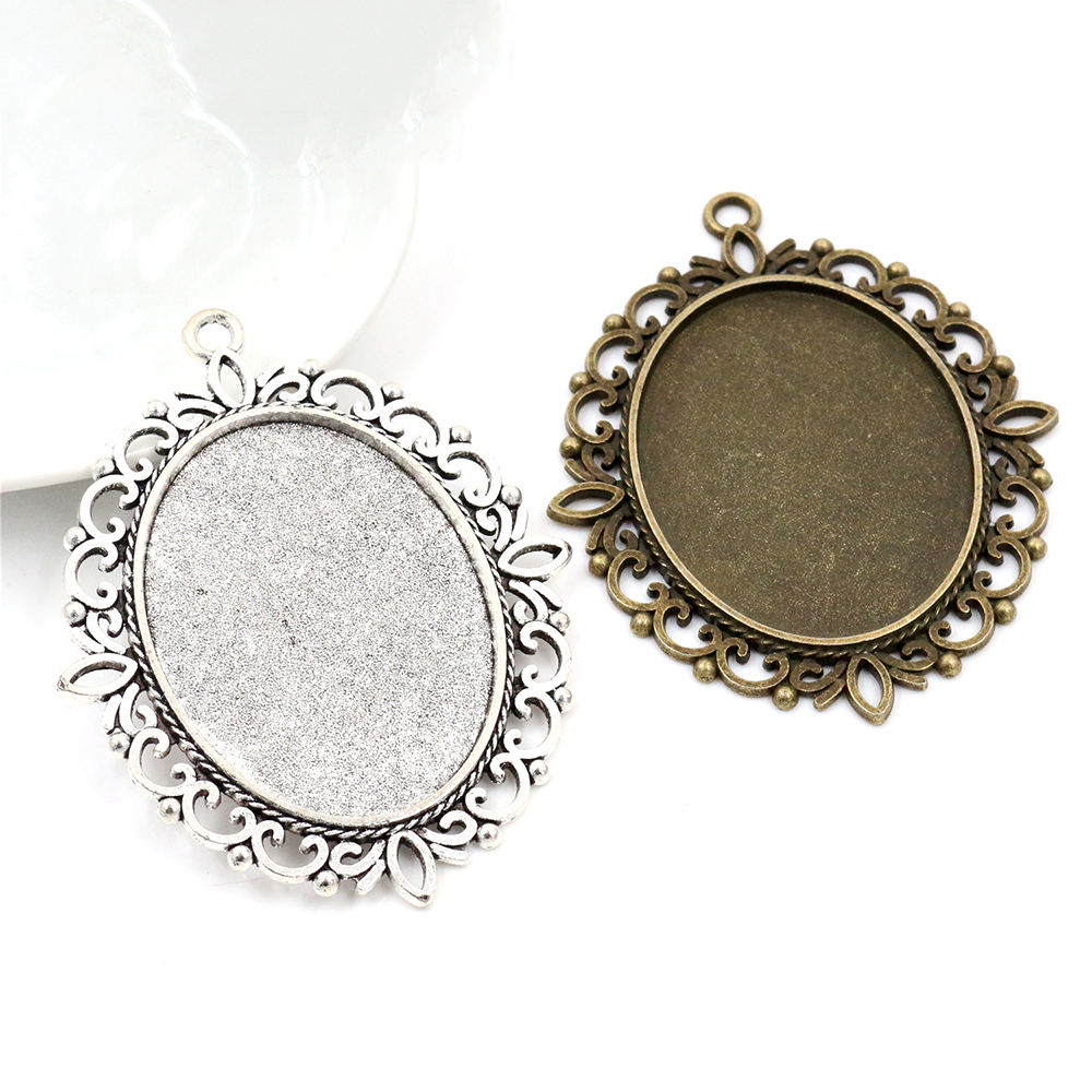 New Fashion  5pcs 30x40mm Inner Size Antique Silver Plated And Bronze Pierced Style Cabochon Base Setting Charms Pendant