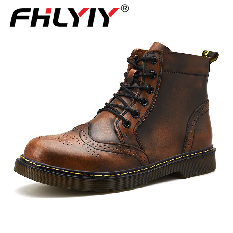 Fhlyiy Brand High Quality Genuine Leather Men Boots Winter Ankle Boots Riding Boots Outdoor Working Snow Boots Men Shoes Size 47