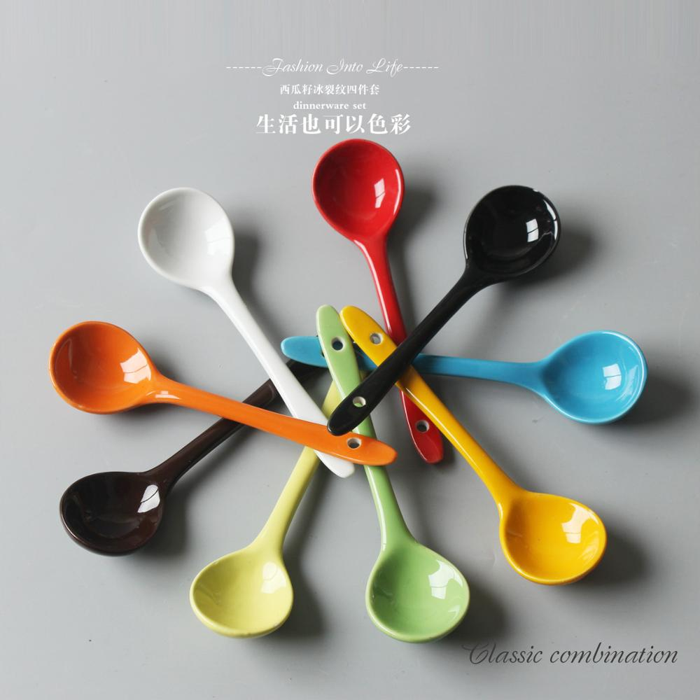 2 PC Colorful Ceramic Spoons Japanese And Korean Colorful  Small Spoon Restaurant Spoon White Soup Spoon Wholesale|Spoons| |  - title=