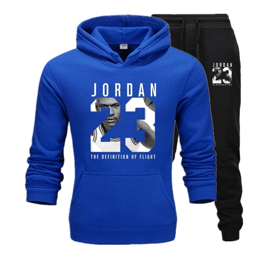 New 2020 Hoodies Suit Basketball 23 Tracksuit Sweatshirt Fleece Hooded Suit+sweat Pants Jogging Homme Pullover 3xl Male Men Set