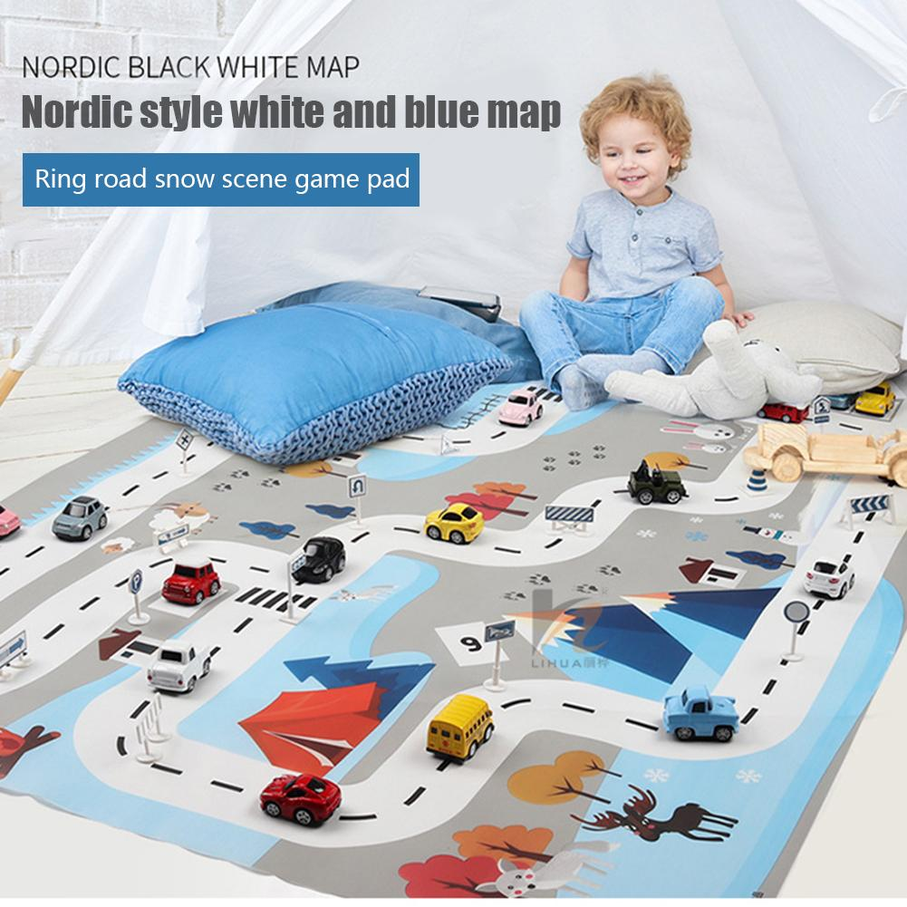 Children Traffic Parking Lot Map Game Pad Play Mat Car Carpet With Road Non-woven Film Outdoor Activity Game Pad