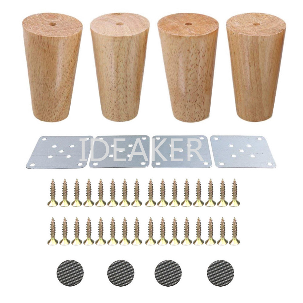 4PCS Oak Wood 300x58x38mm Furniture Legs Feet Cabinet Table Feet Sofa Bed Legs Iron Pads Gaskets Screws