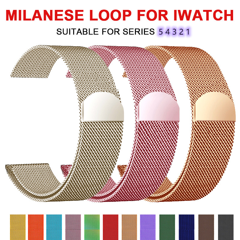 Band For Apple Watch 5 4 1/2/3 Loop Bracelet Stainless Steel Milanese 42mm 38mm Bracelet Strap For Iwatch Series 40mm 44mm