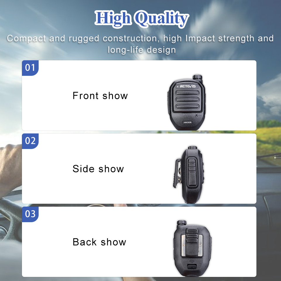 Chape HK008 2Pin Rechargeable micro haut-parleur Volume réglable pour Kenwood Baofeng UV5R UV82 888S chape RT22 RT3S H777 pour TYT