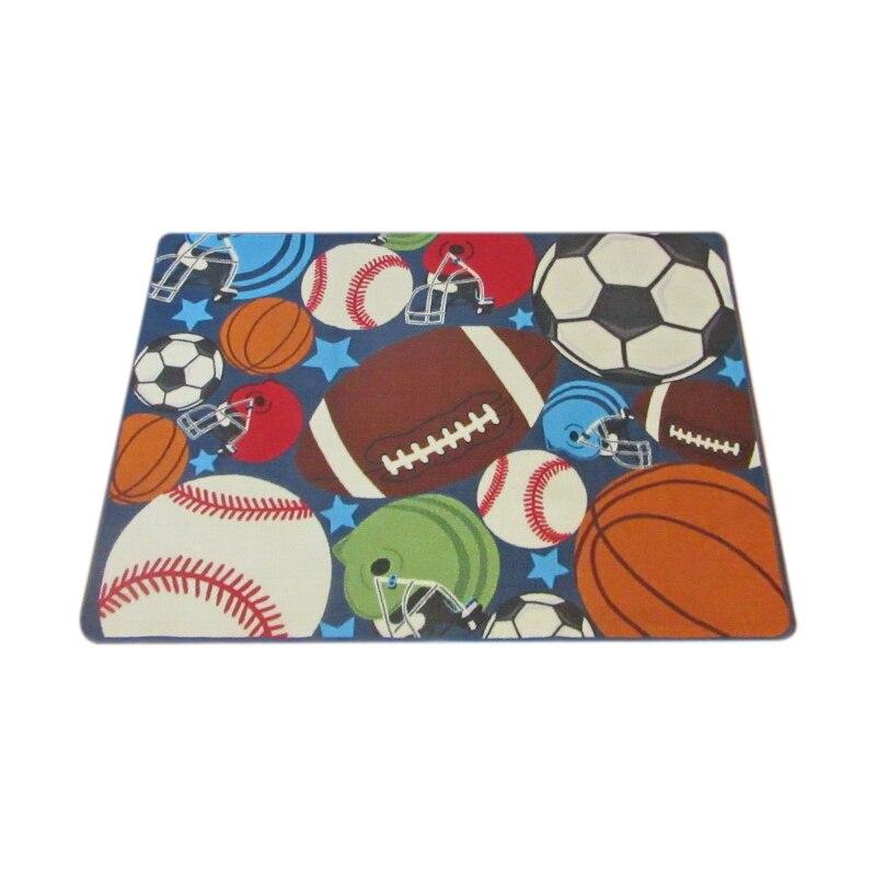 Children'S Carpet Boy Girl Children Carpet Ball Print With Football, Basketball, Football, Tennis Bedroom Game Room