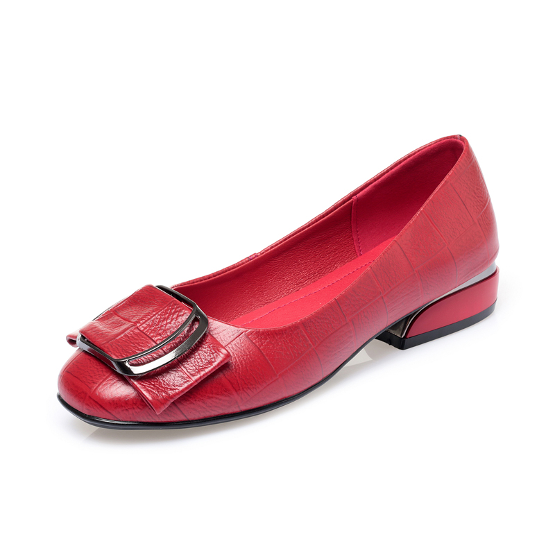 AIYUQI Autumn 2020 new Genuine Leather Women's Shallow Mouth Shoes Red Wild Women's Shoes Low Heel nurse Shoes Ladies