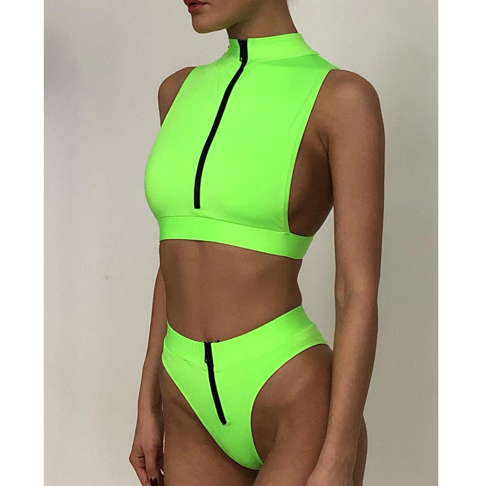 High Waist Bikini 2020 Mujer Neon Green Swimsuit Female High Neck Swimwear Women Zipper Crop Top Sexy Bathing Suit Bathers
