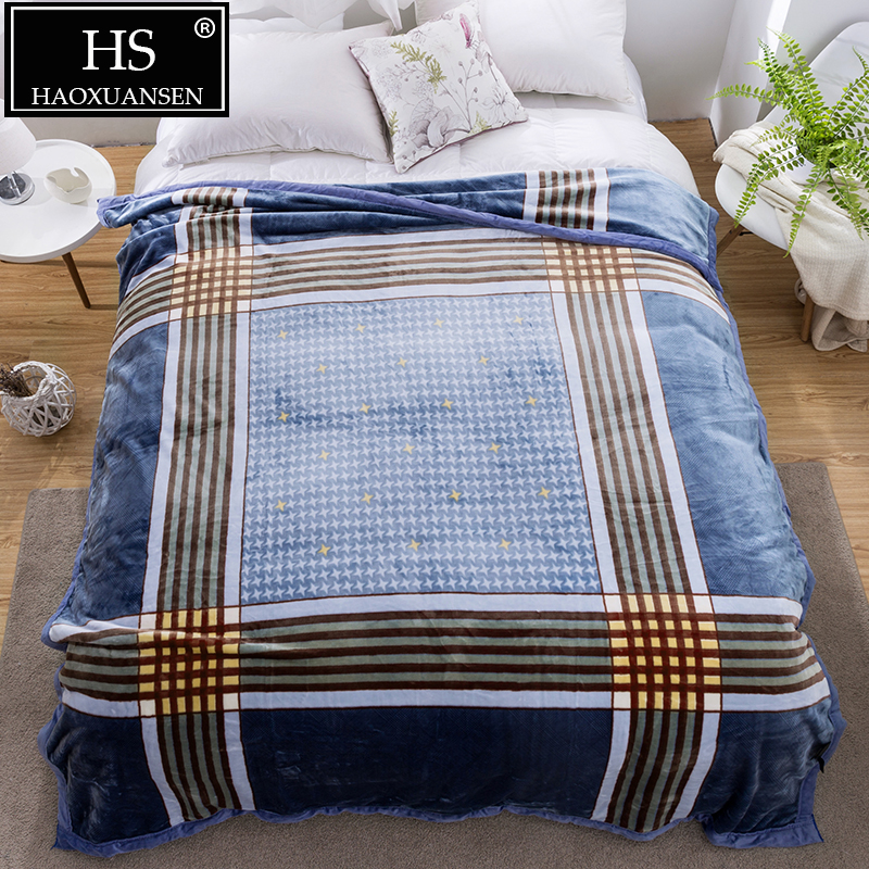 Blue 2.8 kg Cozy Soft Cloudy Blanket Plaid Pattern for Bed Sofa Home Decoration Throw Blankets All Season Warm Quilt 200*230 cm